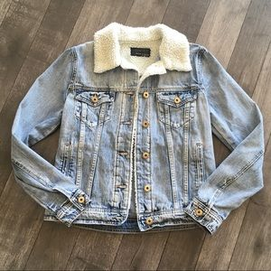 Articles of society Liz shearling denim jacket